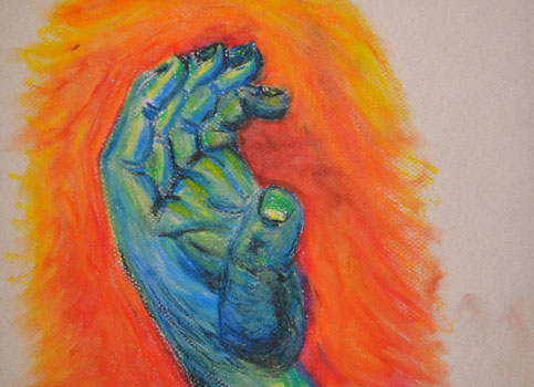 Hand of God Pastel 9x12in