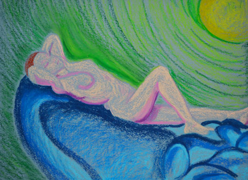 Laying in Clouds Pastel 9x12in